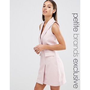 ASOS Pink Petite Tuxedo Shift Dress